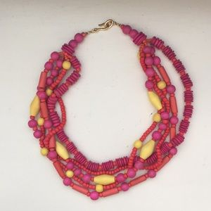 """Jewelry - Pink and Coral Wooden Bead Necklace, 20"""" end-end"""